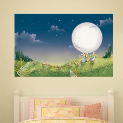 Peter Rabbit Full Moon Family Scene Wall Sticker Mural