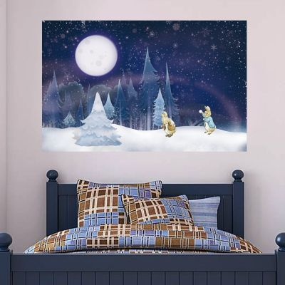 Peter Rabbit And Benjamin Bunny Full Moon Winter Wall Sticker Mural
