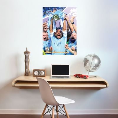 Premier League Champions - Pep Guardiola Lifting Trophy Shot Mural + Wall Sticker Set