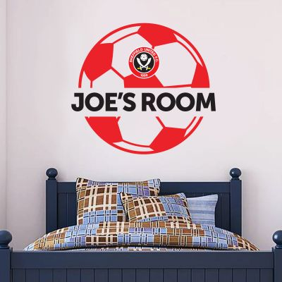Sheffield United Personalised Name & Ball Design Wall Sticker + Official Wall Sticker Badge Set