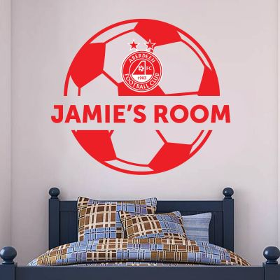 Aberdeen Football Club - Personalised Name & Ball Wall Sticker