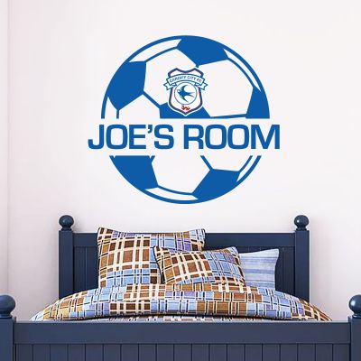 Cardiff City FC - Personalised Name & Ball Design Wall Sticker