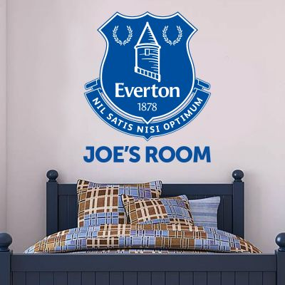 Everton Football Club - Personalised Name & Crest + Toffees Wall Sticker Set