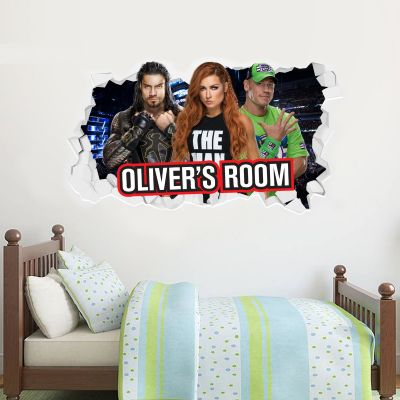 WWE Wrestlers Broken Wall Sticker & Personalised Name
