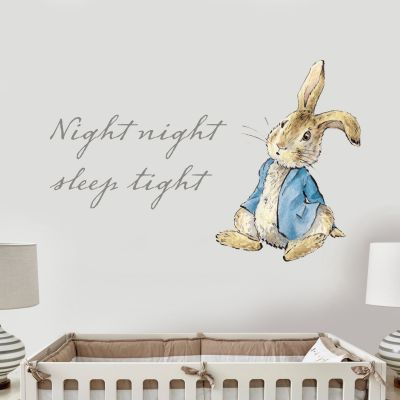 Peter Rabbit Sitting Down & Night Night Sleep Tight Wall Sticker