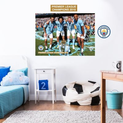 Premier League Champions 2018 - Players with Trophy Mural + Wall Sticker Set