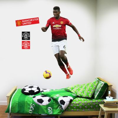 Manchester United F.C. - Paul Pogba Running Player Decal + Bonus Wall Sticker Set