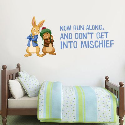 Peter Rabbit and Benjamin Bunny Run Along Wall Sticker Mural