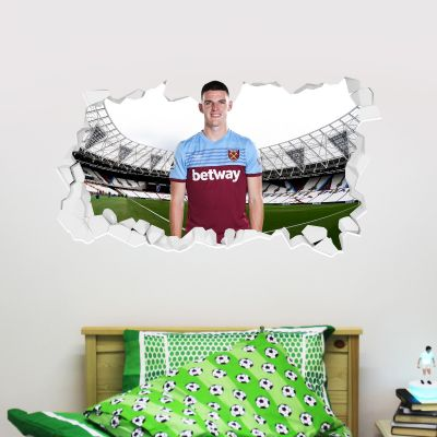 West Ham United Football Club - Declan Rice Smashed Wall Mural + Hammers Wall Sticker Set