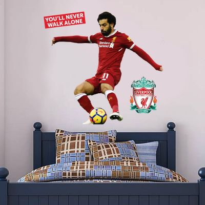 Liverpool FC - Mo Salah Shooting Player Decal + LFC Wall Sticker Set