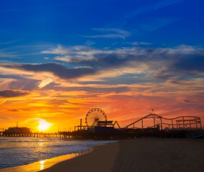 Santa Monica Pier at Sunset Wall Mural