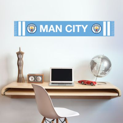 Manchester City Football Club - Bar Scarf Wall Decal + Bonus Wall Sticker Set