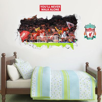 Liverpool Football European Night The Kop Broken Wall Stadium Mural + Wall Sticker Set