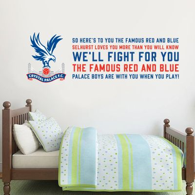 Crystal Palace F.C. Crest & 'The Famous Red & Blue' Song Wall Sticker