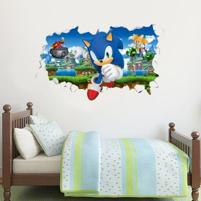 Sonic The Hedgehog - Doctor Eggman Chasing Sonic and Tails Smashed Wall Sticker