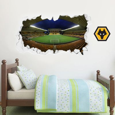 Wolverhampton Wanderers F.C. Stadium Smashed Wall Mural + Wolves Wall Sticker Set