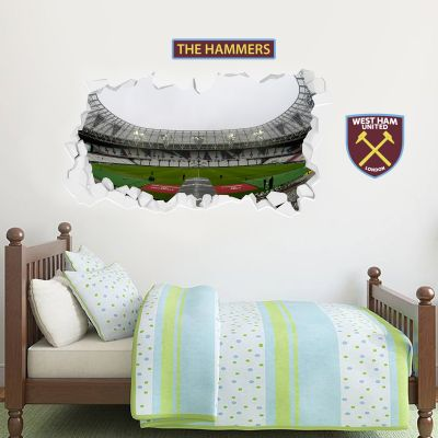 West Ham United Football Club - Smashed London Stadium Wall Mural 2 + Hammers Wall Sticker Set