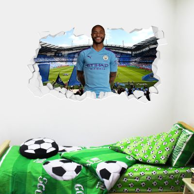 Manchester City Football Club - Raheem Sterling Smashed Wall Mural + Bonus Wall Sticker Set