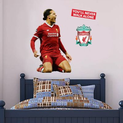 Liverpool FC - Virgil Van Dijk Goal Celebration Player Decal + LFC Wall Sticker Set