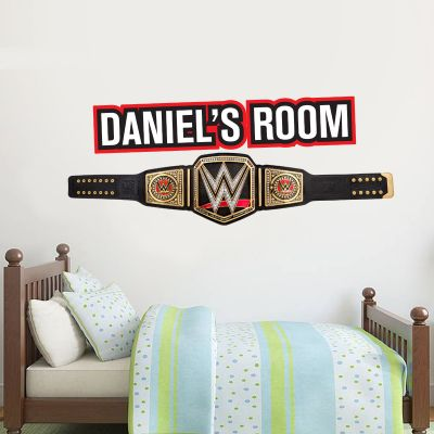 WWE - Championship Belt & Personalised Name Wall Sticker