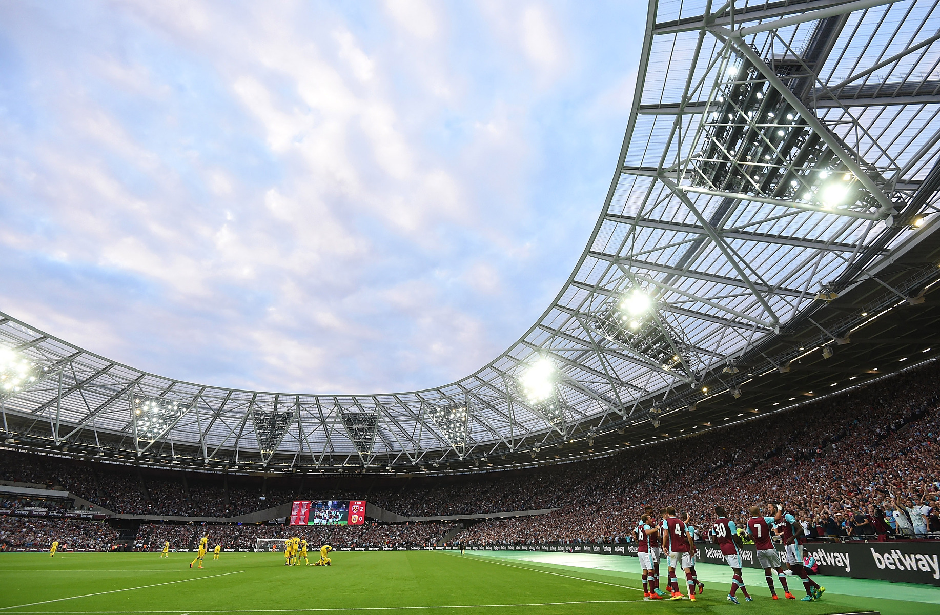 Official Licensed Football Entertainment Wall Stickers West Ham United Fc London Stadium Full Wall Mural Inside Stadium Players Celebrating The Beautiful Game
